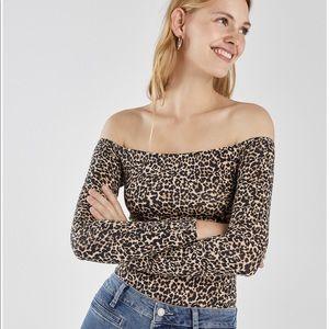 64201a44 Bershka Tops   Leopard Print Off The Shoulder Long Sleeve Top   Poshmark